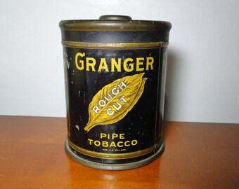 "Granger Tobacco Advertising Tin - 6 1/2"" Tall X 5"" Diameter - Great Old Tin!"