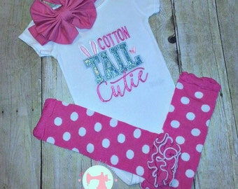 Easter Shirt/Onesie-Cotton Tail Cutie-Easter Outfit-Girl's Easter Shirt/Onesie-Large Headband Bow-Legwarmers-Easter Set