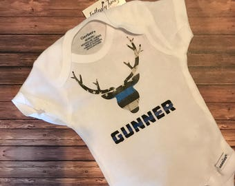 LEO Child Daddy Hunting Deer Thin Blue Line Bodysuit Onesie® Police Personalized Custom Name deputy Constable Officer TBL Baby Shower Gift