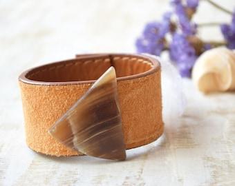 Onyx leather cuff bracelet Cowgirl Boho Wristband Stone Southwestern bracelet Earthy Bohemian wrist cuff Repurposed upcycled leather western