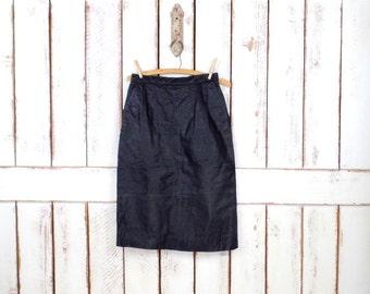 Vintage black leather fitted high waisted knee length skirt/leather pencil skirt/black midi skirt