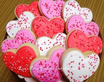 Valentines Day Cookies - Heart Cookies - Heart Valentines with Sprinkles - 12 Cookies