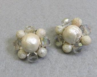 White Beaded Clip On Earrings, 1960s Era