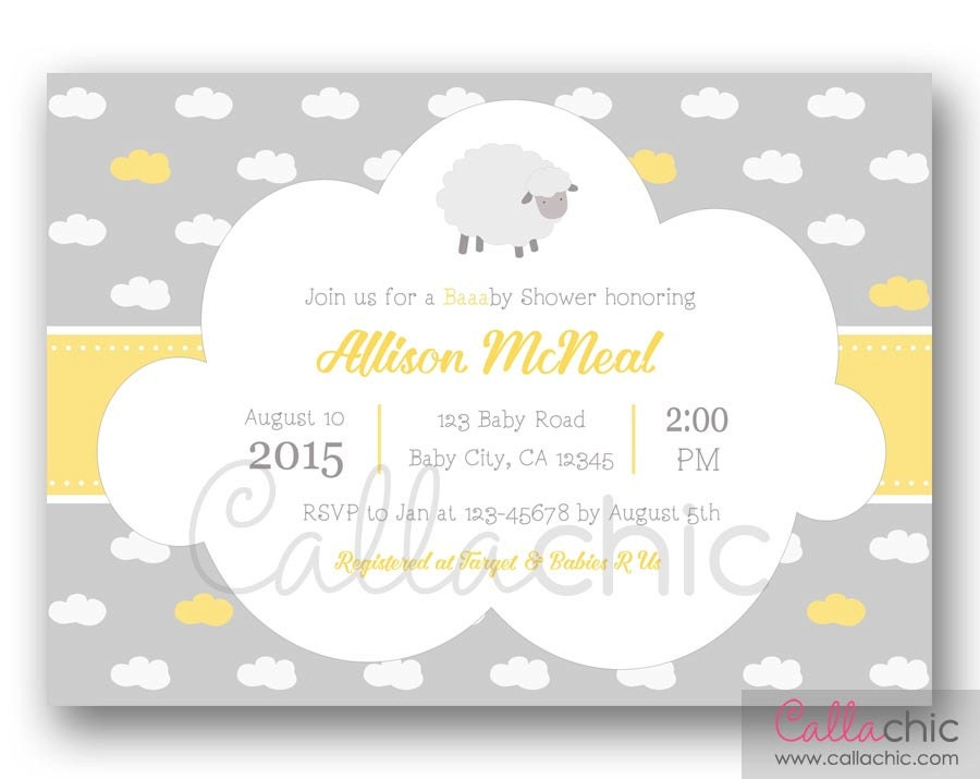 Sheep Baby Shower Invitation PRINTABLE Boy/Girl 1st