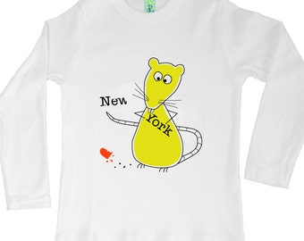 Cotton long sleeve children's t-shirt with screen printed rat design by Bugged Out, made in the USA