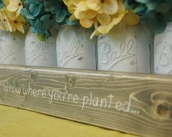 Grow Where You're Planted Mason jar caddy , wedding decor, kitchen decor, bedroom, rustic centerpiece, wedding gift, Spring Summer decor