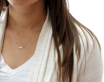 Gold Initial Necklace, Short Gold Necklace, Bar Necklace, Tiny Gold Necklace, Delicate Jewelry, Bridesmaid Necklace, Gold Initial Jewelry