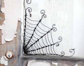 """Twisted 12""""  Barbed Wire Corner Spider Web For Halloween"""