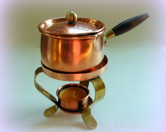 Vintage TAGUS Portugal Copper Mini Fondue Pot on Warming Stand Portuguese Metalcrafts