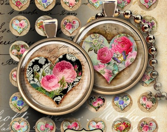 """1 """" (25mm) and 1.5"""" size Printable images for pendants HEARTBEAT OF FLOWERS Digital Collage Sheets Valentine clip art for pendants bezels"""