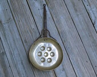 Vintage 7 Seat Escargot Snail Oyster Cooking Egg Poacher Pan w/ Wrought Iron Handle Rustic Decor Modern Farmhouse