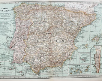 Antique Map : Spain, Portugal, Iberia. Encyclopedia Britannica, 1890s (20)