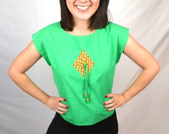 Vintage Cute Green 60s Top