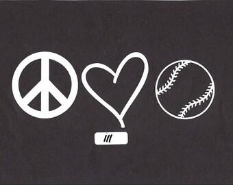 Peace love sports car/truck decal sticker