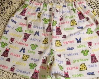 Girl's Flannel Sleep Shorts - Size 2 - Fashion Diva - An Original Lucy Littles Creation 020