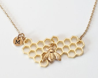 Honeycomb Necklace with Bee Charm, Honeycomb charm, honey drop and honey bee necklace, Graduation gift, mother's day gift, gift for mom