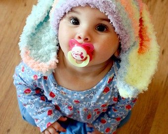 12 to 24m Toddler Bunny Hat, Rainbow Boy Girl Baby Hat Bunny Ears, Toddler Bunny Beanie Rainbow Hat, Bunny Costume Baby Hat Gift