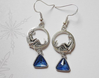 Mermaids and triangular rhinestone earrings