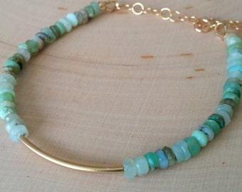 Beaded green opal and gold tube stack bracelet. Gold bar bracelet. Gemstone. Adjustable. Delicate. Dainty. Gift. Minimalist. Goldfill.