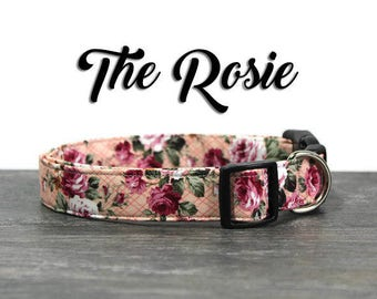 Floral Dog Collar, Rose Dog Collar for Girls, Pink Floral Collar, Pink Dog Collar for Girl Dogs, Cute Dog Collar, Custom Dog Collar