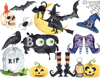 Halloween clipart, Watercolor Halloween clip art,Witches Hat,Witches shoes,Halloween decor,Watercolor pumpkins,Trick or treat,jack o lantern
