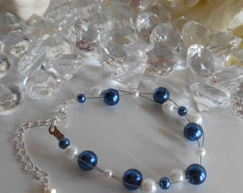 Twisted wedding bracelet Royal Blue and white beads