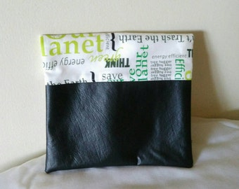 """Fold-over Clutch Purse with faux leather - """"Save the Earth"""" fabric - black white green zipper pouch or clutch"""