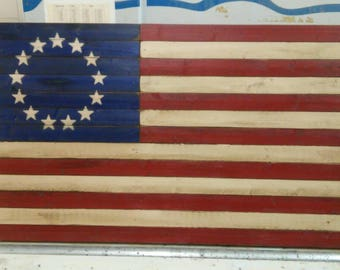 25 1/4 x 48 flag repurposed wood