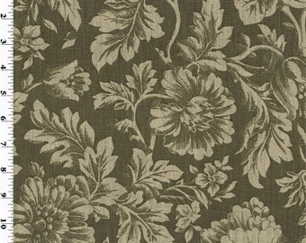 Brown Printed Floral Vintage Linen Home Decorating Fabric, Fabric By The Yard