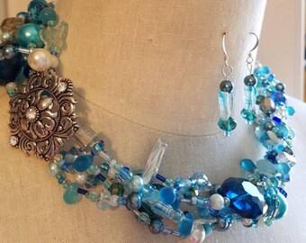Multistrand aqua blue beaded necklace and earring set, Multistrand necklace, blue statement necklace, pearl necklace, medallion necklace