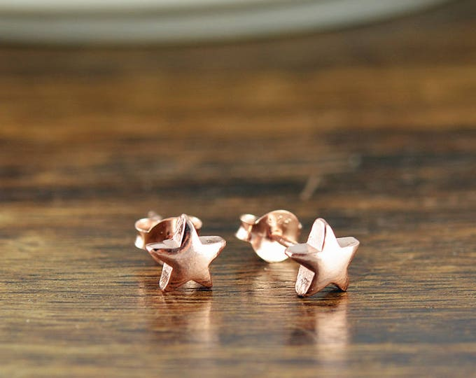 rose gold stud earrings -  star earrings - stud earrings - celestial star earrings - tiny stud earrings - cute earrings
