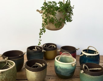 Handmade small ceramic hanging planters for succulent or cactus. Tiny hanging planters. Ceramics plan pots.