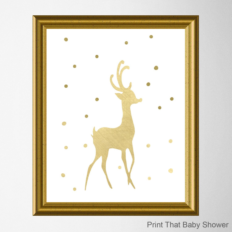 Gold reindeer Christmas Wall Art Christmas Decor Art Print