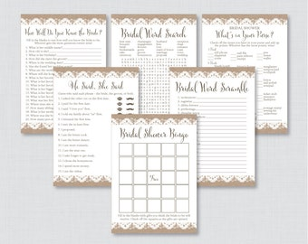Burlap and Lace Bridal Shower Games Package with Six Games- Printable Rustic Bridal Shower Games - He Said She Said, Bingo, etc 0003