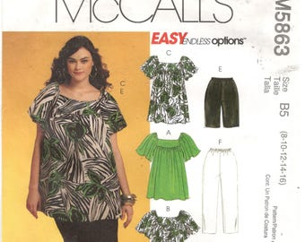 McCall's 5863 Size 8, 10, 12, 14, 16 Women's short flutter sleeve tunic top or dress pattern.  Also shorts or capris with elastic waist.