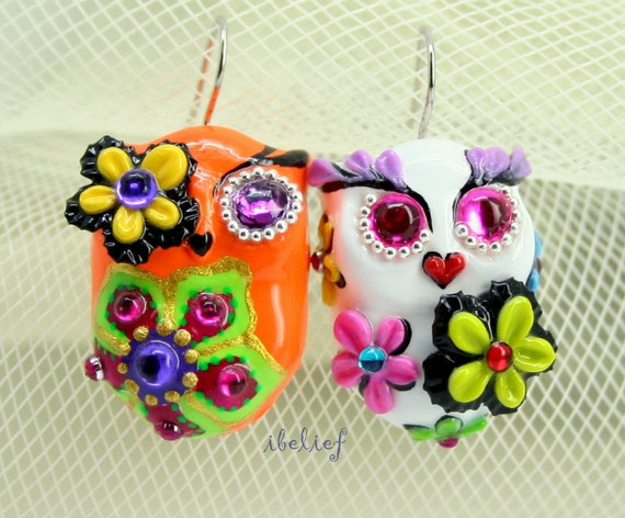 OWL NIGHT of handmade owls earrings EW0047