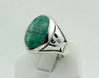Large Turquoise Thunderbird Motif Vintage Sterling Silver Southwest Native American Ring FREE SHIPPING! #TBIRD2-MS