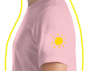 Pink Tee with Sun Print - Light Pink Tee with Sun Print on Sleeve - Baby Pink Graphic Tee with Small Sun Print - aclothing0006