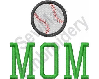 Baseball Mom - Machine Embroidery Design, Baseball, Mom