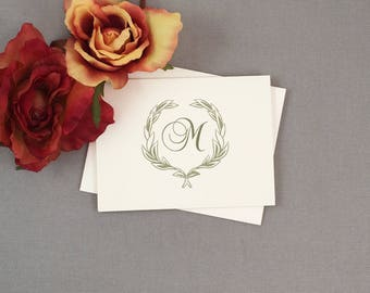 Elegant Monogram with Greenery Broadfold Wedding Thank You Cards with A2 Envelopes