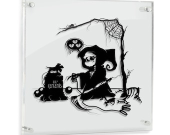 Goodbye Lil' Cerberus Sad Grim Reaper Underword Death of Pet Cute Death Sad Reaper Dog Art creepy cartoon geek gift papercut FRAMED