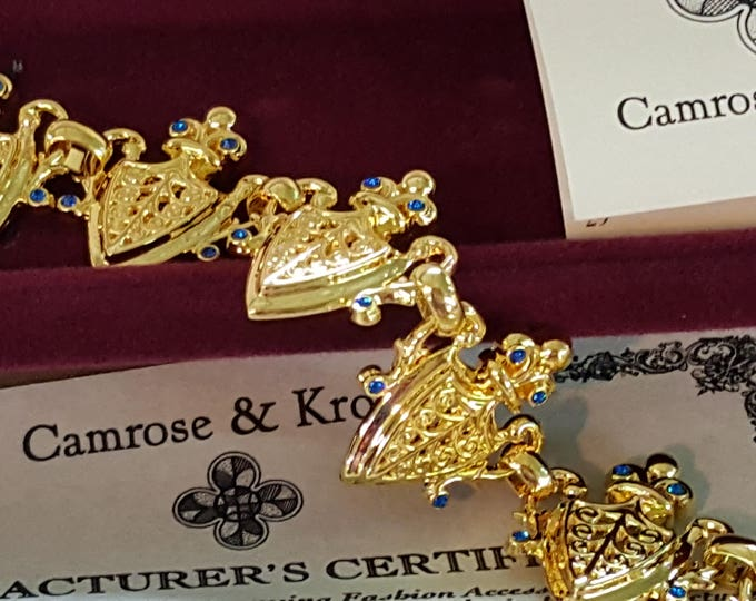 On Sale - Heraldic Shields Jackie Kennedy Camrose and Kross Bracelet Simulated Sapphires Gold Plated JBK