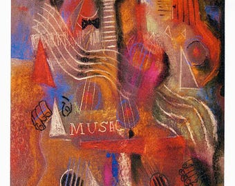 Music - #27 - 4 Art Cards featuring this pastel by Anthony Coulson.