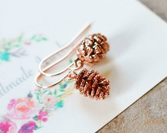 Pine Cone Earrings, Rose Gold Pine Cone, Fall Jewelry, Autumn Jewellery, Gift for mom sister wife daughter girlfriend, Christmas Gift