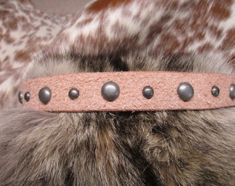 Leather Hatband, Natural Leather, Roughout Leather Hatband with Antique Silver Dome Spots and Adjustable Lace Tie