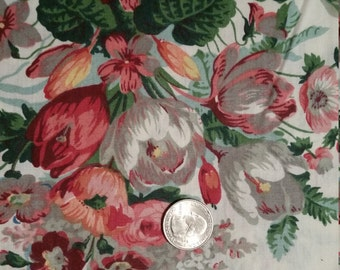 SHABBY COTTAGE CHIC Ivory, Pink and Green Floral Fabric: 1  7/8 Yd