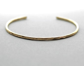 Gold Cuff Bracelet, 14K Gold Fill, Thin Gold Cuff, Minimal Bracelet, Simple Gold Bracelet, Hammered Cuff, Wife Gift, Gift for Her