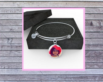 Silver or Gold Bangle Bracelet with Personalized Picture Charm