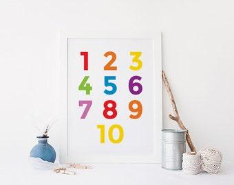 Number print - colorful nursery art -  educational printables - 8x10 wall decor - digital download