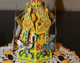 CAROUSEL PoP Up 3D vintage unused Greeting Card Christmas Ornament Merry-Go-Round Tiger Zebra Giraffe Pig Ostrich Bunny OUTSTANDING w/ doily